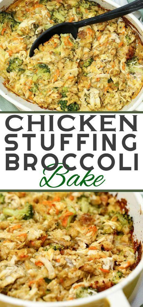 Chicken Stuffing Broccoli Bake