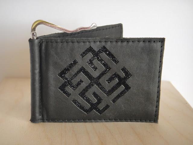 Кошелек зажим с монетницей - подарок мужчине, славянская символика, славянский оберег