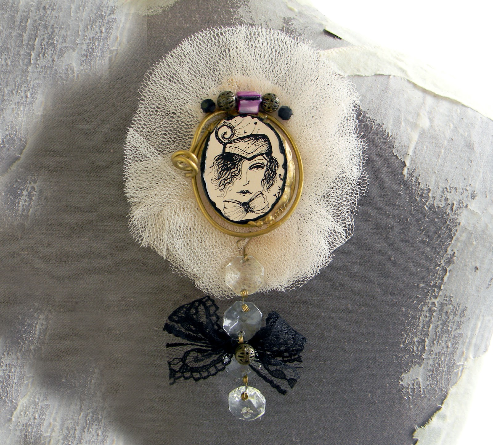 Handmade Victorian Brooch Original Illustration