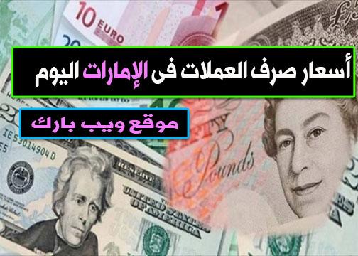 أسعار صرف العملات فى الإمارات اليوم الجمعة 15/1/2021 مقابل الدولار واليورو والجنيه الإسترلينى