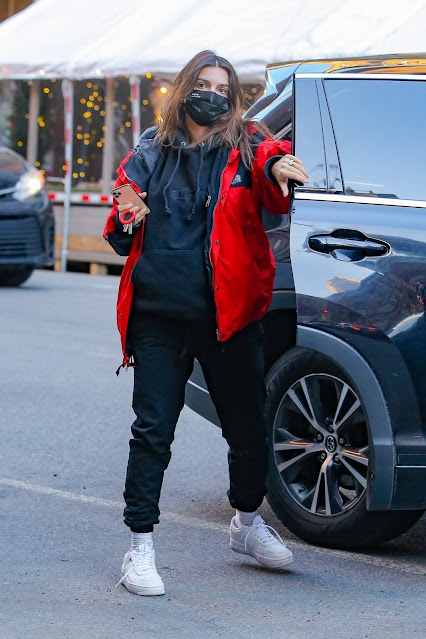 Emily Ratajkowski – In a red North Face jacket out in New York