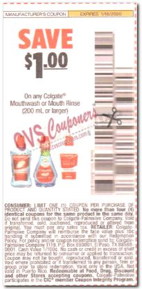 """$1/1 Colgate Mouthwash Coupon from """"SMARTSOURCE"""" insert week of 1/5/20."""