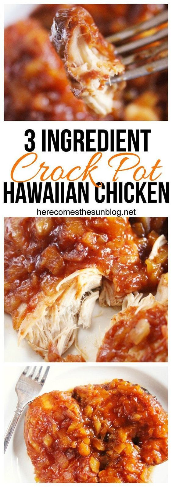 This Crock Pot Hawaiian Chicken recipe has only 3 ingredients and is super easy to make.