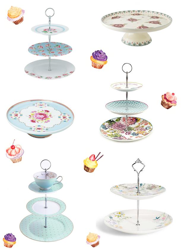 floral cake stands  vintage