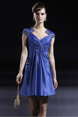 Contoh Model Gaun Pesta Pendek Biru Elegan