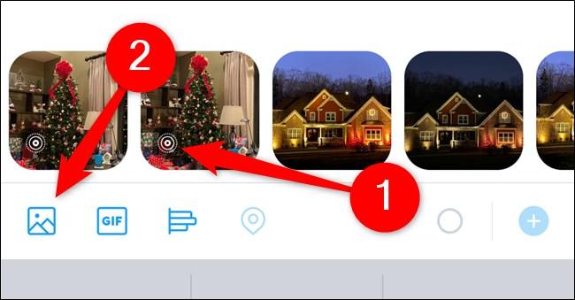 تطبيق Apple iPhone Twitter ، انقر فوق Live Photo أو حدد Galaxy Button واختر Live Photo