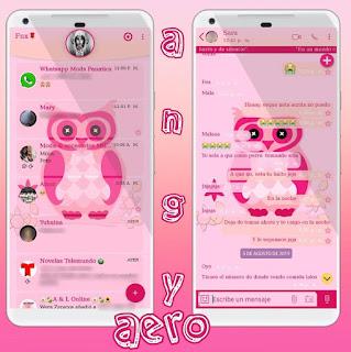Alone Owl Pink Theme For YOWhatsApp & Aero WhatsApp By Ave fénix