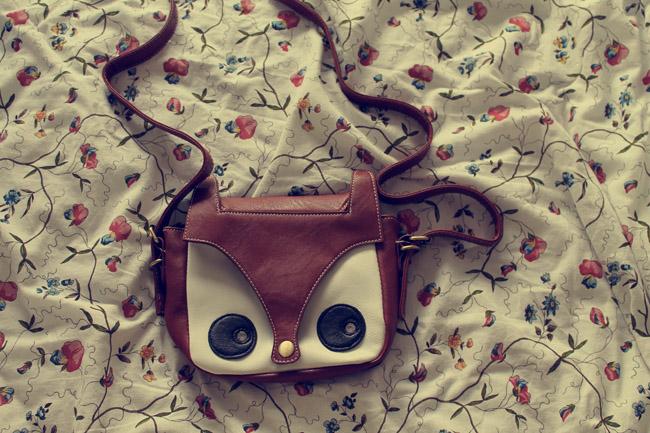 fox satchel fox face bag