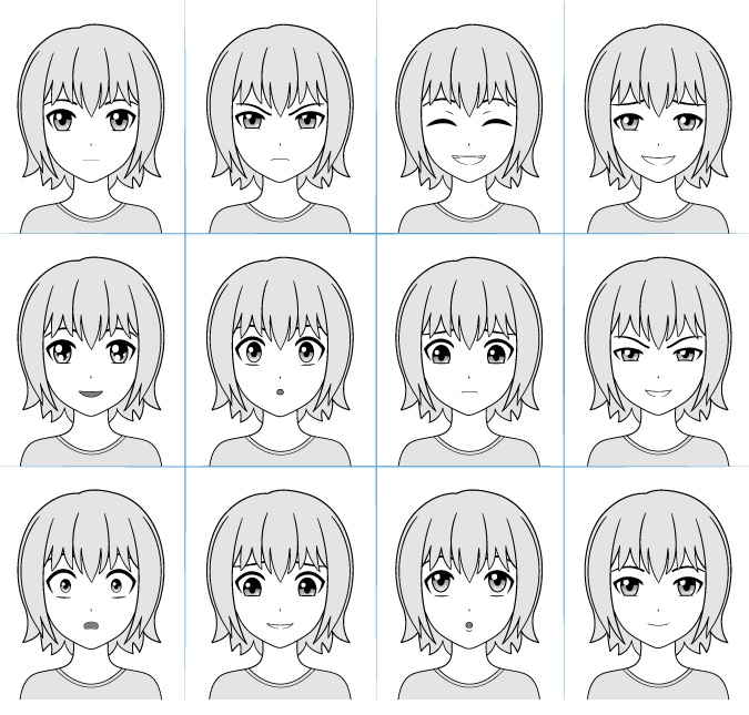 Grafik ekspresi wajah Anime