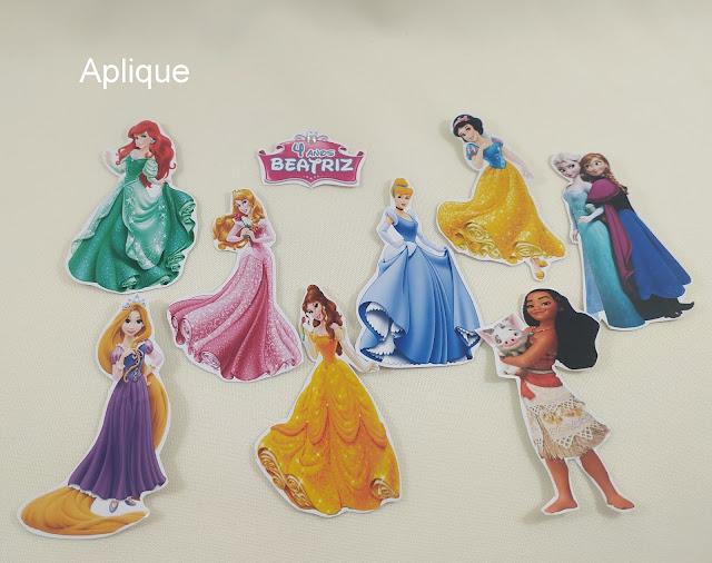 Aplique e Adesivos As Princesas  Disney dicas e ideias para decoração de festa personalizados