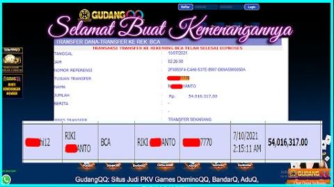 Selamat Kepada Member Setia GudangQQ WD sebesar Rp. 54.016.317.-