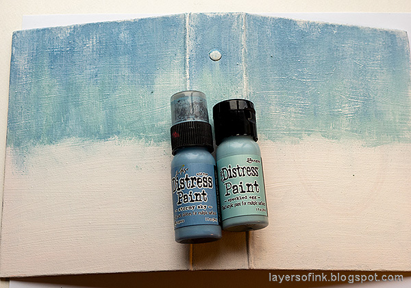 Layers of ink - December Daily Peaceful Winter Tutorial by Anna-Karin Evaldsson. Paint the cover with acrylic paint.