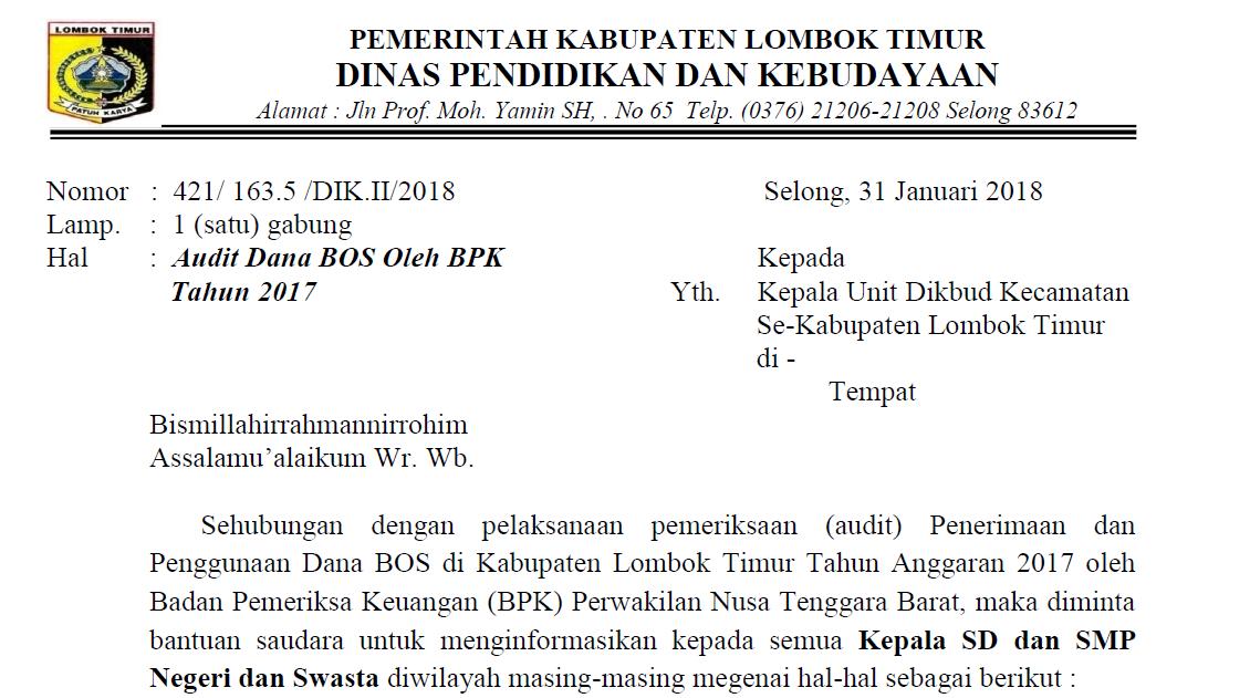 Tindak Lanjut Hasil Audit Dana Bos Oleh Bpk Tahun 2017 Kabupaten Lombok Timur Mkks Smp Lombok Timur