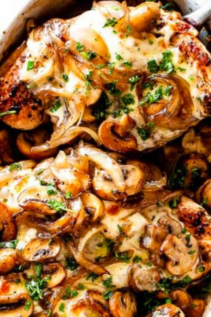 Best Cheesy Baked Chicken Breasts With Mushrooms