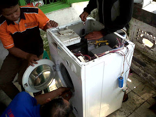 mesin cuci 1 tabung tidak bisa berputar dan spin