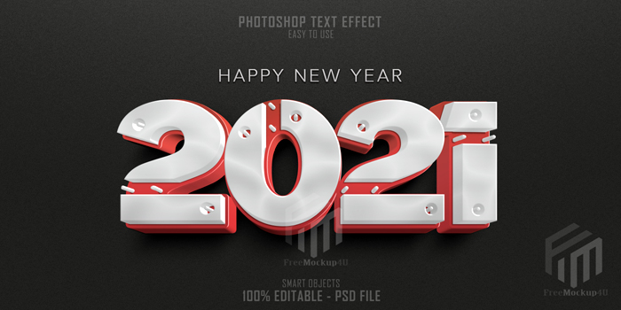 Happy New Year 2021 3D Text Style Effect Template