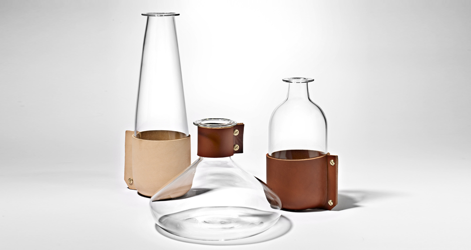 Leather-wrapped glass