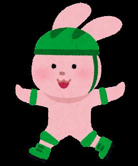 ローラースケートに乗る動物のキャラクター(うさぎ)