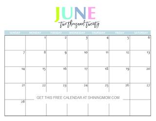 Free Printable Calendar June 2020