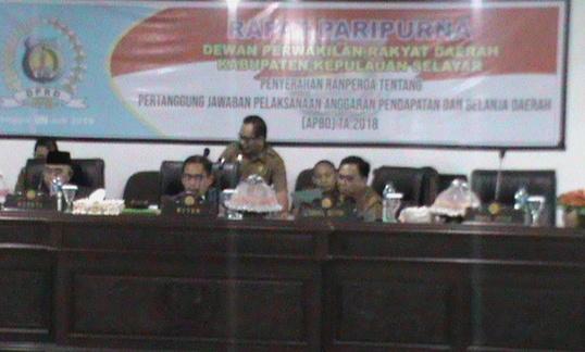 Paripurna Penyerahan LPJ APBD Selayar TA 2018, Dihadiri 14 Legislator