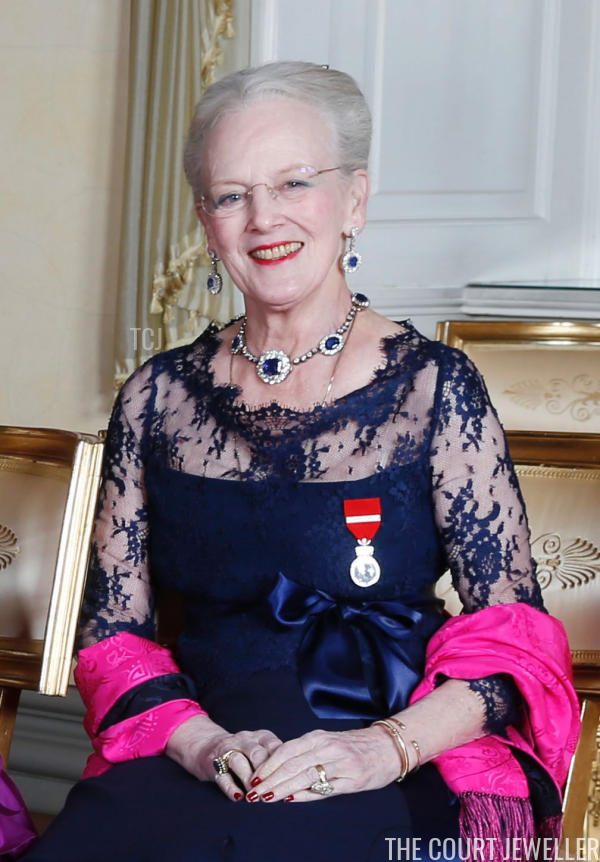 Queen Margrethe wearing her sapphires