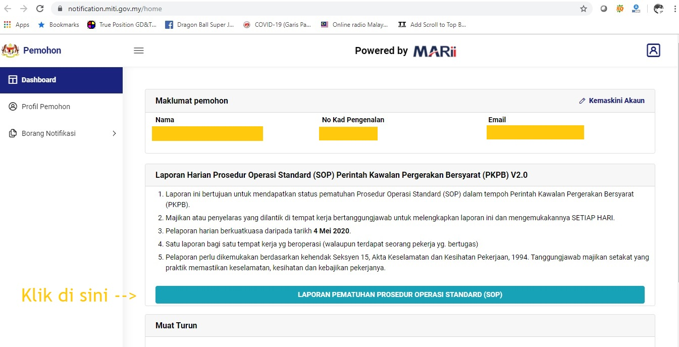Simiey Dot Info Laporan Harian Prosedur Operasi Standard Sop Perintah Kawalan Pergerakan Bersyarat Pkpb V2 0 Miti