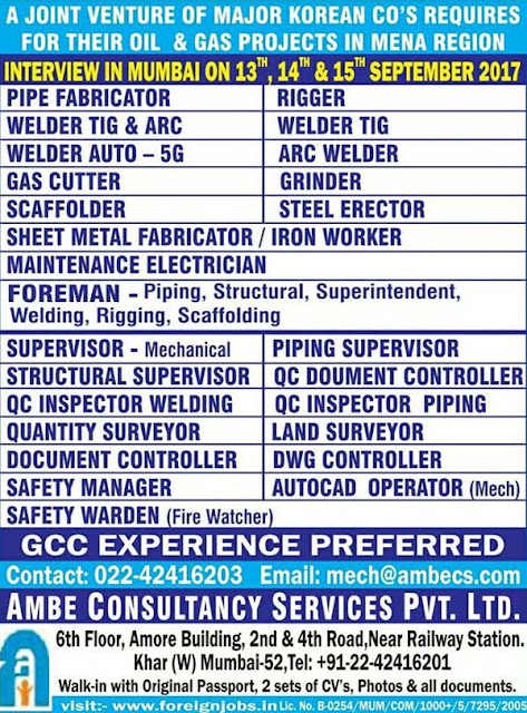 Walkin Interview in Mumbai for Korean company in MENA Region Ambe Consultancy Services PVT LTD Mumbai