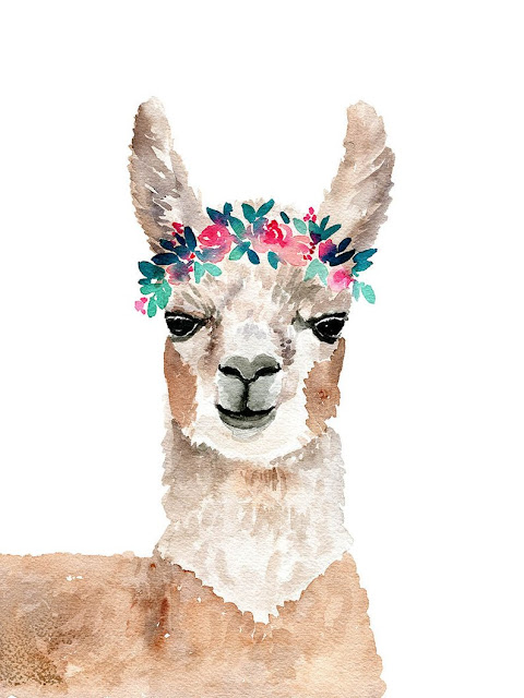 Watercolor llama and floral art print by Elise Engh