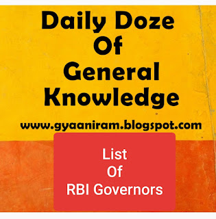 List Of RBI Governers with their period | General Knowledge 2020