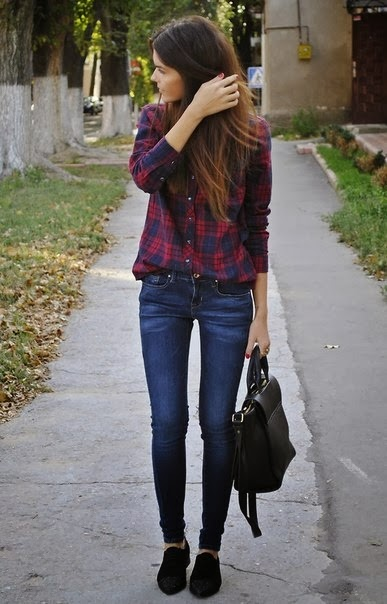 Womens Fashion tucked-in plaid + skinnies + black flats and bag
