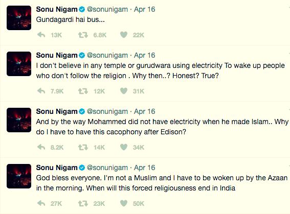 Sonu Nigam, Azaan, Tweets,