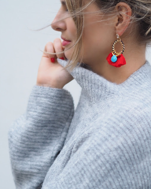 statement earrings, Clare Hynes jewellery, statement jewellery, next knitted jumper, sweater weather