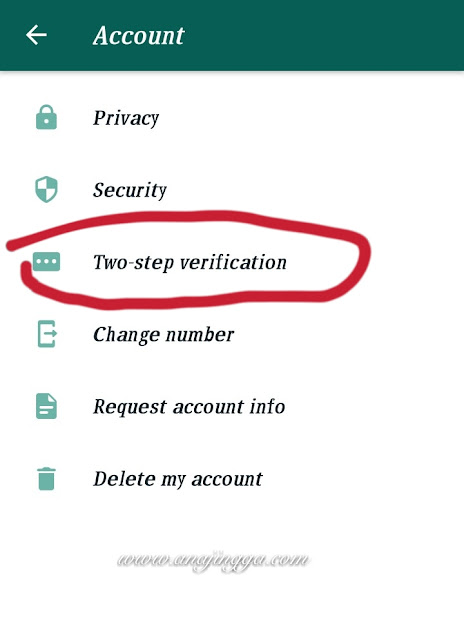 Cara setting two step verification pin di whatsapp