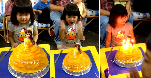 Table for 2 or more Princess Belle Doll Cake with Mango