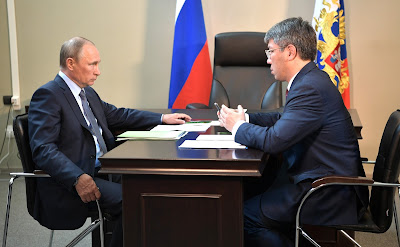 Vladimir Putin with Acting Head of Buryatia Alexei Tsydenov.