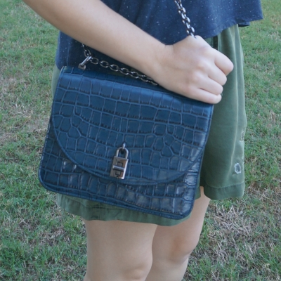 Rebecca Minkoff Love Too in deep teal croc embossed leather with olive shorts | awayfromtheblue