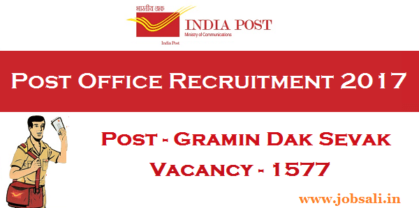 Rajasthan Postal Circle Recruitment 2017, Post office GDS Vacancy, India Post Recruitment 2017
