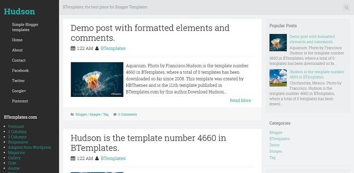 Хъдсън тема за Blogger в стил WordPress