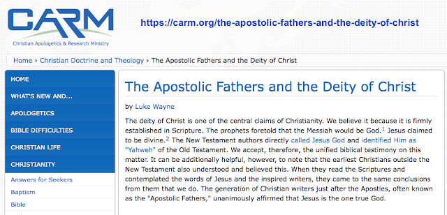 The Apostolic Fathers and the Deity of Christ by Luke Wayne Carm.org