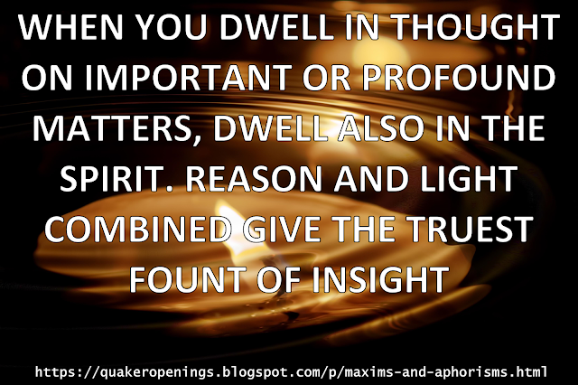 "Text overlaid on an image of candlelight reflecting in rippling water. Text reads ""when you dwell in thought on important or profound matters, dwell also in the Spirit. Reason and Light combined give the truest fount of insight."