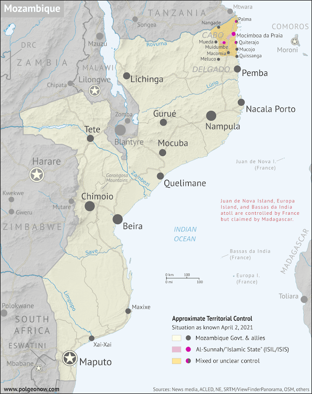Where is ISIS in Mozambique? Full-country map of insurgent control in northern Mozambique, with territorial control, roads, rivers, and terrain. Includes key locations of the insurgency such as Mocímboa da Praia, Palma, Macomia, Mucojo, Quissanga, Meluco, Muidumbe, Mueda, Quiterajo, and Nangade, as well as other important cities such as Pemba, Nampula, and Maputo. Neighboring countries shown, including Comoros, Madagascar, and French territories of Juan de Nova Island, Bassas da India, and Europa Island. Updated to April 2, 2021. Colorblind accessible.