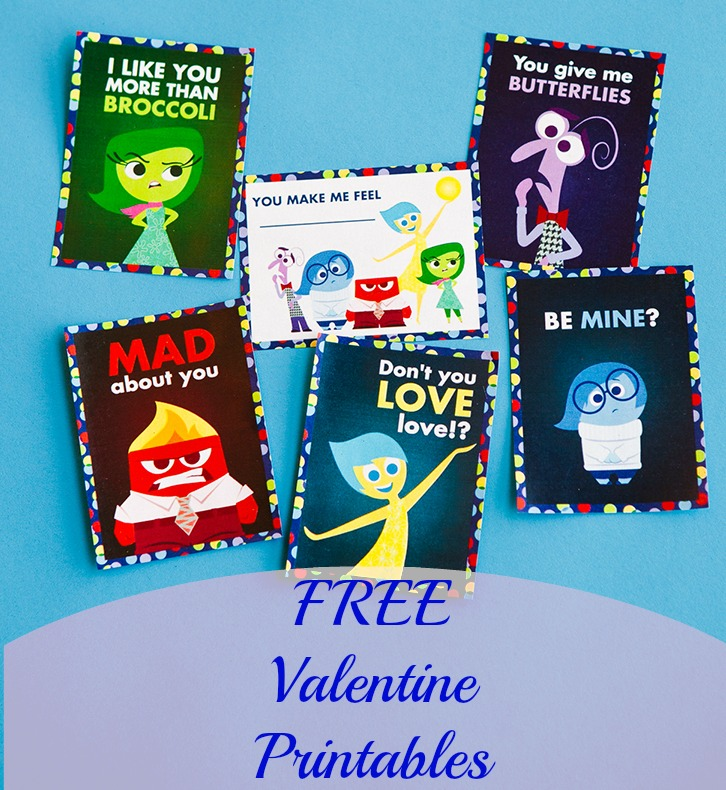 Free Valentine Day Cards Inside Out Lumiere Frozen Toy Story