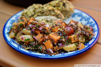 image of a plate of fruited wild rice salad with sweet potato