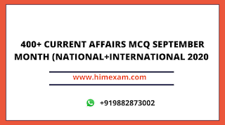 September Month Current Affairs 2020 (National+international )Pdf