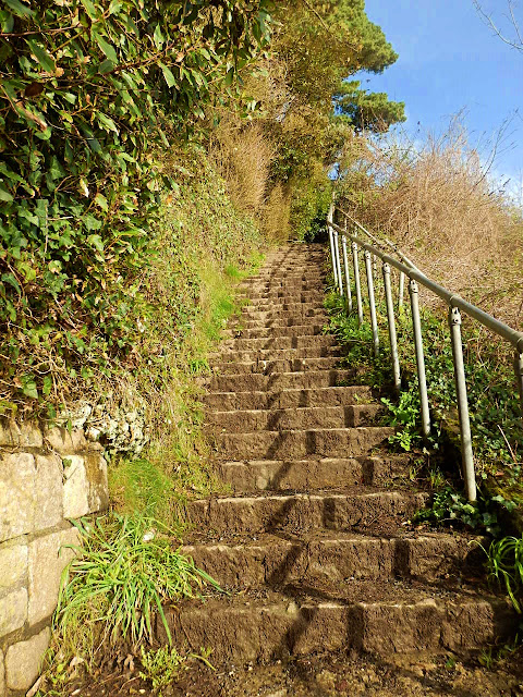 Steps to top of cliffs at Portpean, Cornwall