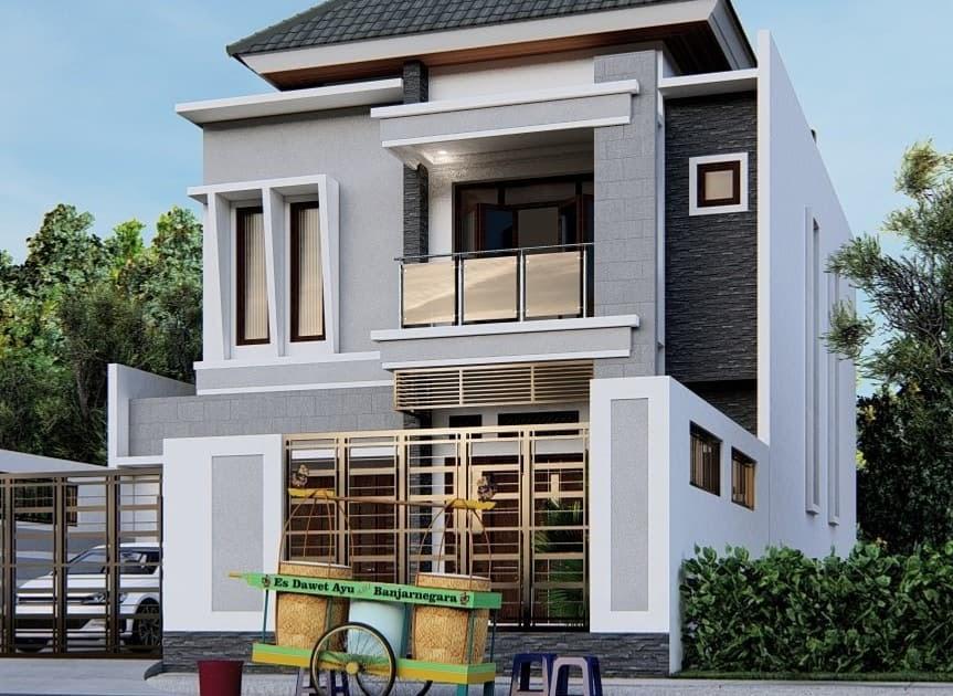Inspirasi Desain Rumah 2 Lantai Minimalis Modern Dan Elegan Tampak Depan Ndekorrumah