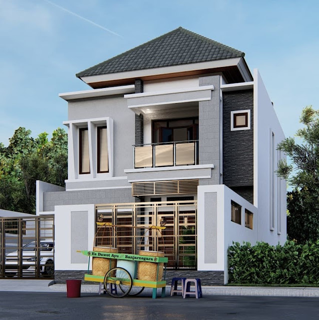 Inspirasi Desain Rumah 2 Lantai Minimalis Modern dan Elegan Tampak Depan