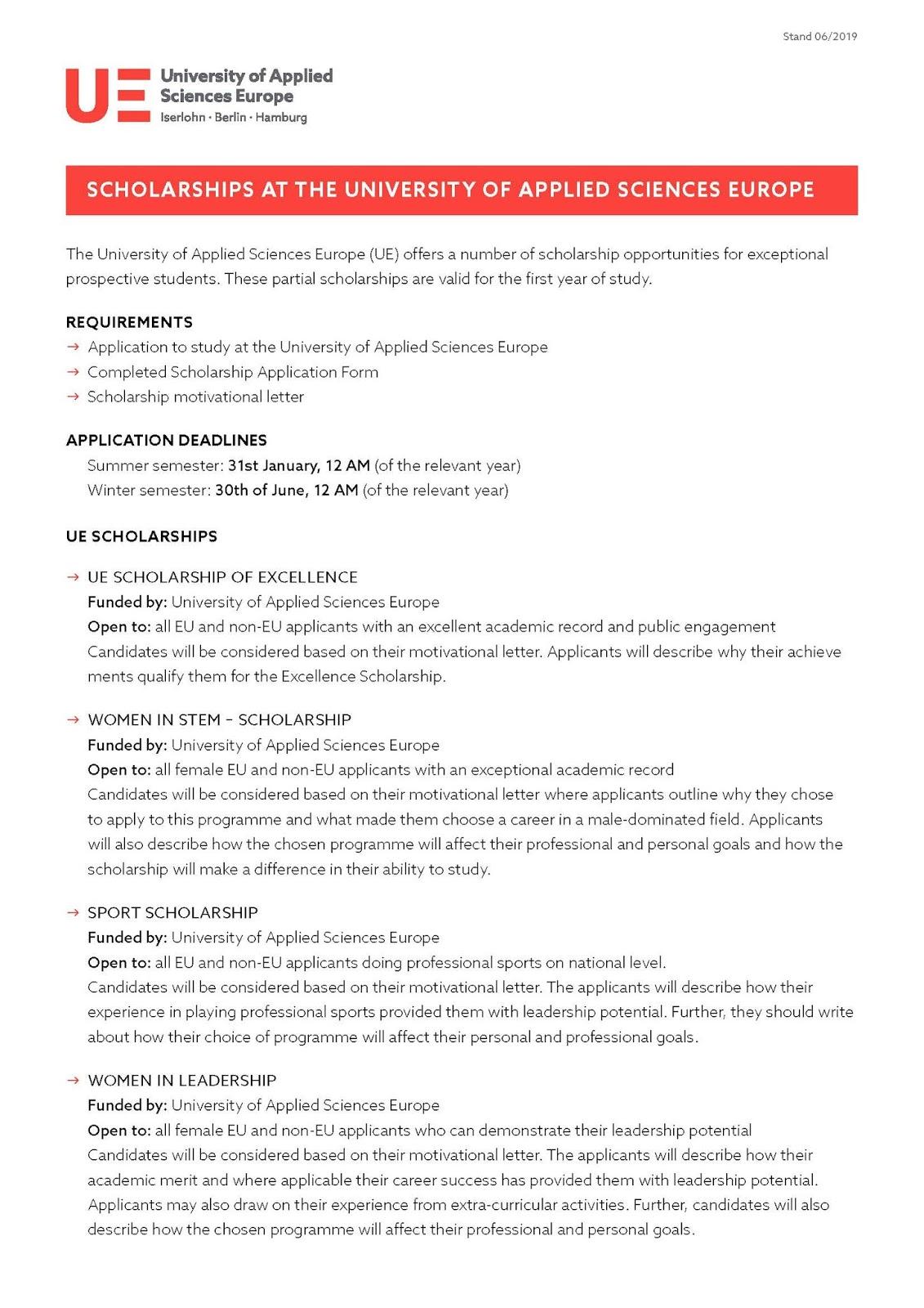UNIVERSITY OF APPLIED SCIENCES EUROPE (UE) SCHOLARSHIPS