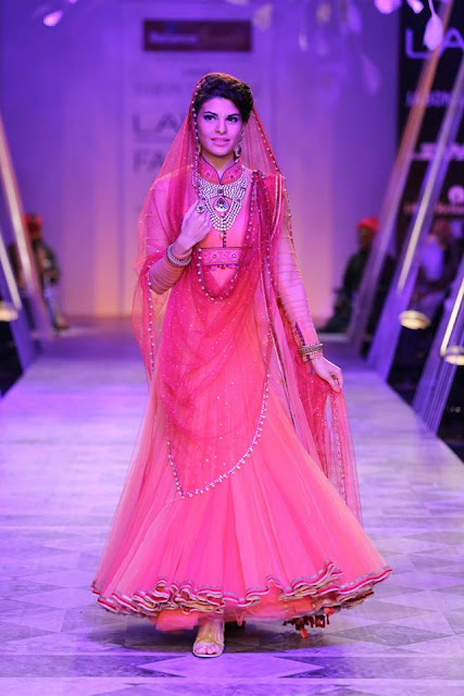 Jaqueline Fernandez in Red Bridal Anarkali Suit