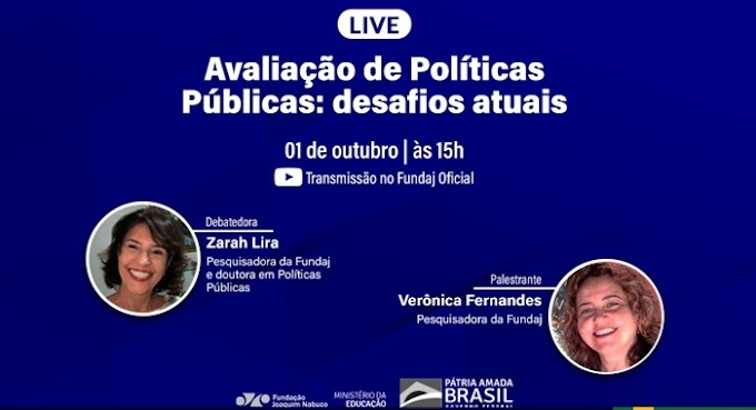 Desafios na avaliação de políticas públicas é tema de live da Fundaj no dia 1º de outubro